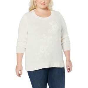 NEW Style & Co Embroidered Floral Sweater 2X